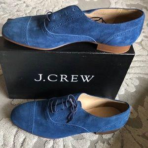 Jcrew women's blue suede oxford loafers